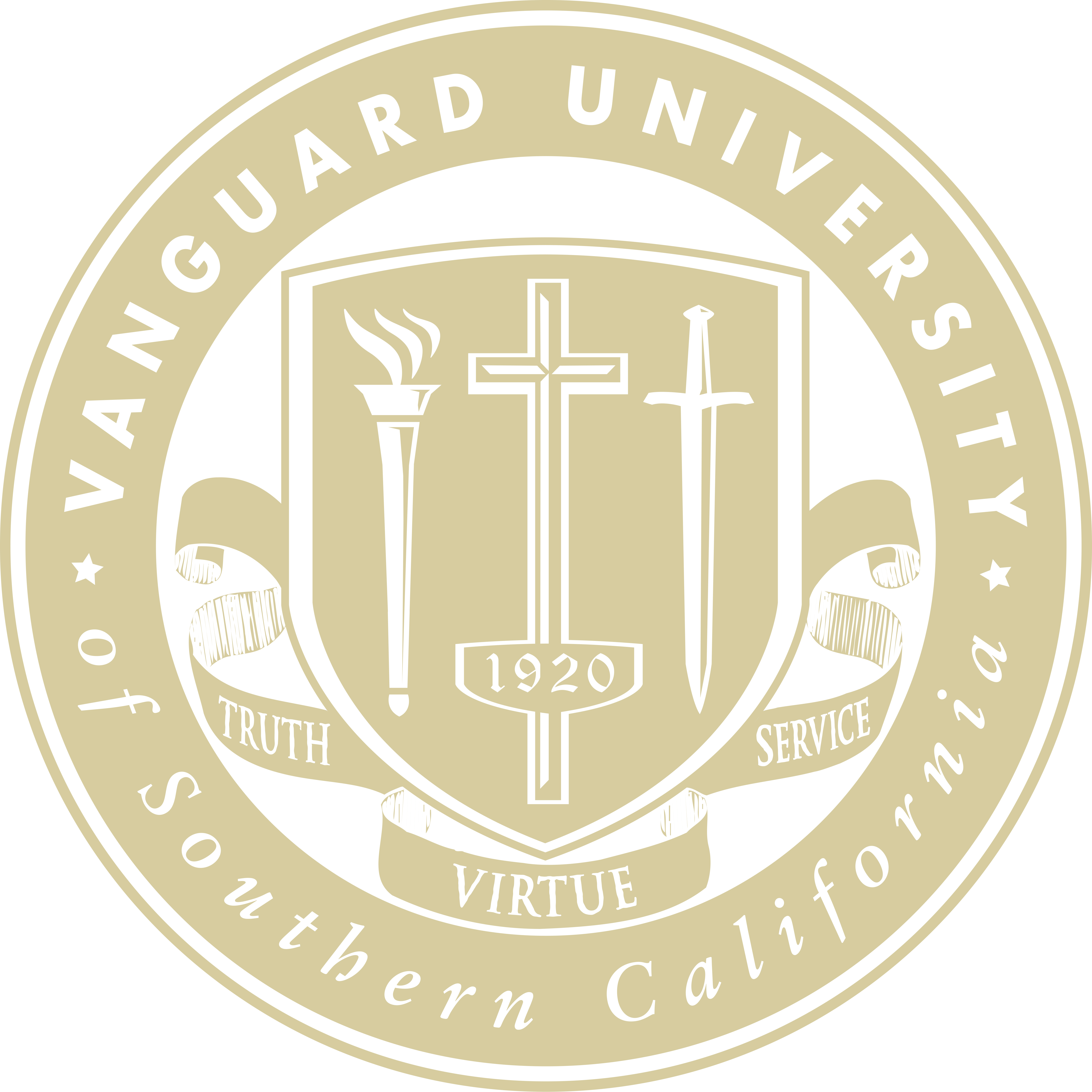 The official seal of Vanguard University